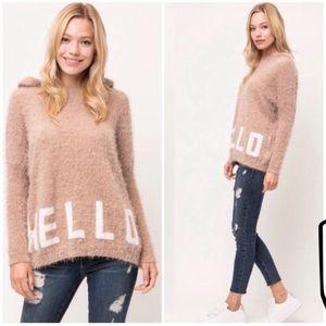 🍂Hello/Bye Fuzzy Hooded Sweater